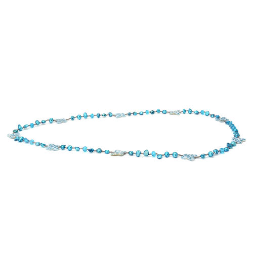 Blue Keshi Pearl, Dyed Shell, Simulated Grey Moonstone and Simulated Aquamarine Necklace (Size 36)