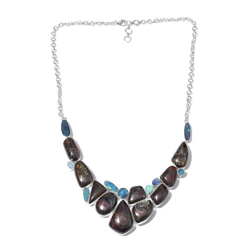 Boulder Opal Rock and Opal Double Necklace (Size 18 with 2 inch Extender) in Sterling Silver 194.851 Ct.