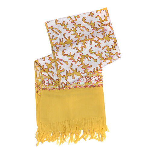 Very Limited Edition 100% Merino Wool Yellow, White and Red Colour Hand Embroidered Shawl with Tassels (Size 190x70 Cm)