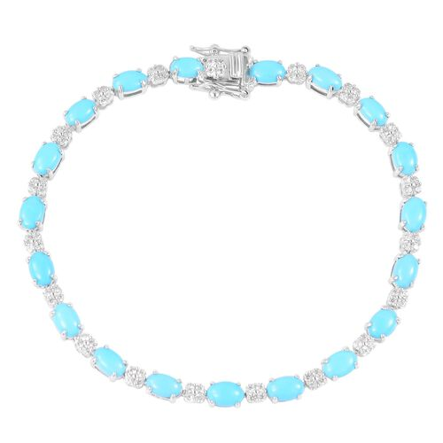 Tuscon Close Out Deal - Arizona Sleeping Beauty Turquoise (Ovl), Natural White Cambodian Zircon Bracelet (Size 7.5) in Rhodium Plated Sterling Silver 7.250 Ct. Silver wt 8.00 Gms.