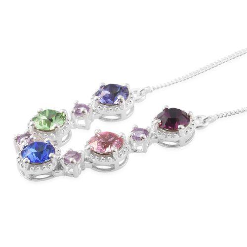 J Francis Crystal From Swarovski - Multi Colour Swarovski Crystal Necklace (Size 18) in Sterling Silver