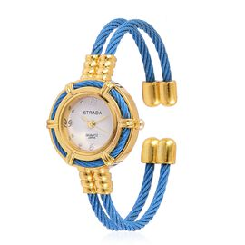 STRADA Japanese Movement Blue Colour Bangle Watch in Gold Tone with Stainless Steel Back