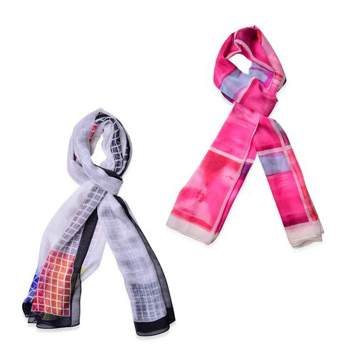 Set of 2 - Designer Inspired Check Pattern White, Pink and Multi Colour Colour Scarf (Size 175x70 Cm)