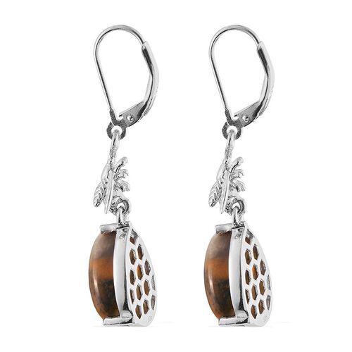 Bumble Bee Jasper (Pear) Lever Back Earrings in Platinum Overlay Sterling Silver 4.750 Ct.