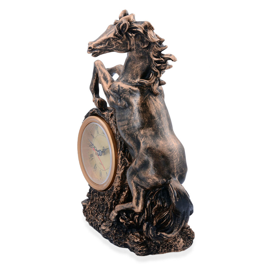 Home Decor Horse Table Clock With Black And Gold Colour