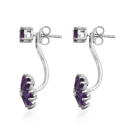 Lusaka Amethyst (Pear), Diamond Floral Earrings (with Push Back) in Platinum Overlay Sterling Silver 3.020 Ct.