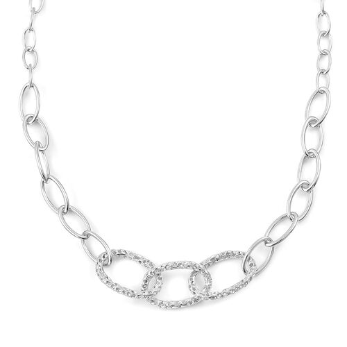 RACHEL GALLEY Rhodium Plated Sterling Silver Necklace (Size 20), Silver wt 34.33 Gms.