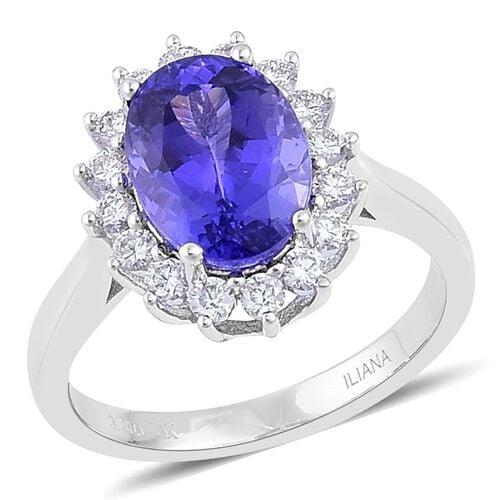 ILIANA 18K W Gold AAA Tanzanite (Ovl 3.75 Ct), Diamond (SI/G-H) Ring 4.250 Ct.