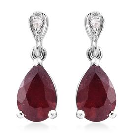 African Ruby and Natural Cambodian Zircon 3.50 Ct. Silver Earrings in Platinum Overlay with Push Back