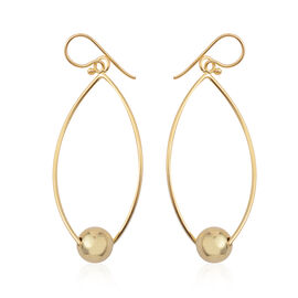 JCK Vegas Collection 14K Gold Overlay Sterling Silver Hook Earrings, Silver wt. 4.00 Gms.
