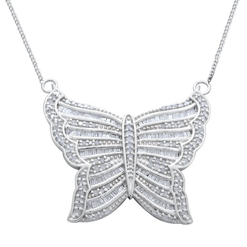 Designer Inspired Diamond (Rnd) Butterfly Necklace (Size 18) in Platinum Overlay Sterling Silver 1.000 Ct. Silver wt 6.51 Gms. Number of Diamonds 191