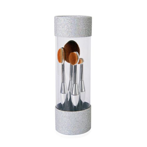 Super Auction-Set of 4 - Oval Shape Makeup Brushes in Silver Tone in a Box