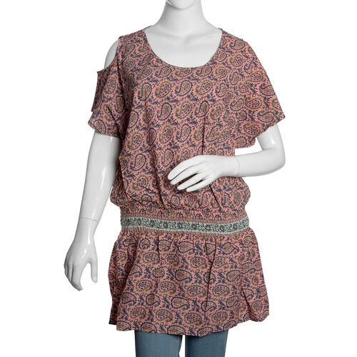 Pink, Navy and Multi Colour Paisley and Leaves Pattern Cutout Shoulder Top (Free Size)