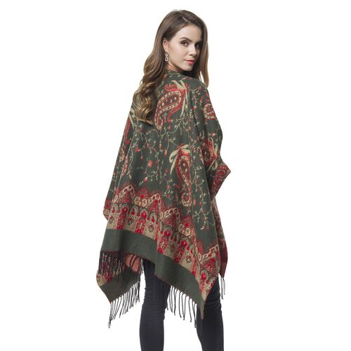 Designer Inspired-Green, Red and Khaki Colour Paisley Pattern Reversible Blanket Shawl with Tassels (Size 127X75 Cm)