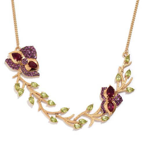 GP African Ruby (Pear), Hebei Peridot, Rhodolite Garnet and Kanchanaburi Blue Sapphire Necklace (Size 18) in 14K Gold Overlay Sterling Silver 15.250 Ct.