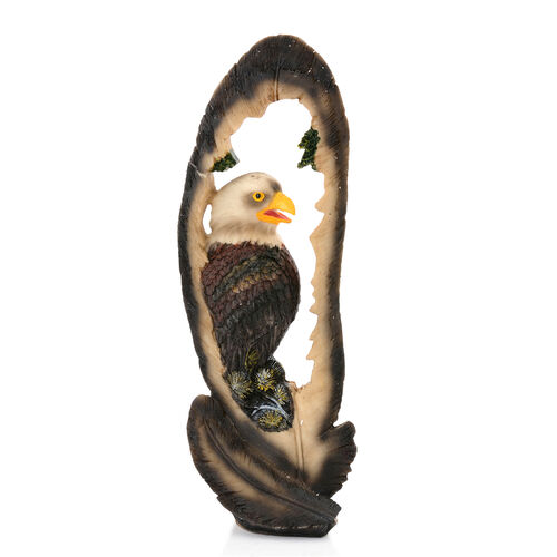 Home Decor - Grey and Brown Eagle in Feather Design Frame with Resin