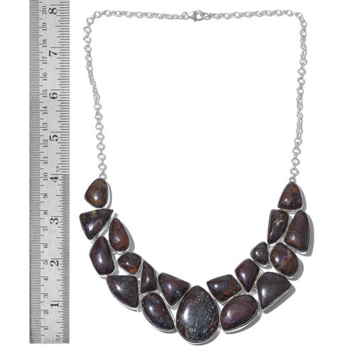 One Off A Kind- Australian Boulder Opal Rock Necklace (Size 18) in Sterling Silver 260.000 Ct. Silver wt 36.90 Gms.