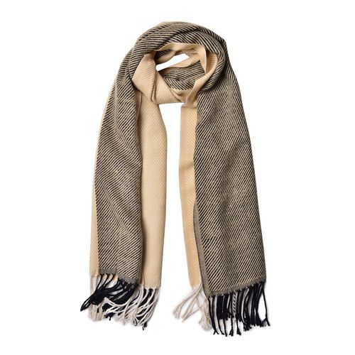 Designer Inspired Khaki and Black Colour Stripes Pattern Scarf with Tassels (Size 180X65 Cm)