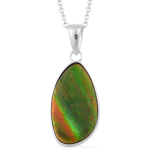 Canadian Ammolite Pendant With Chain in Rhodium Plated Sterling Silver 7.350 Ct.
