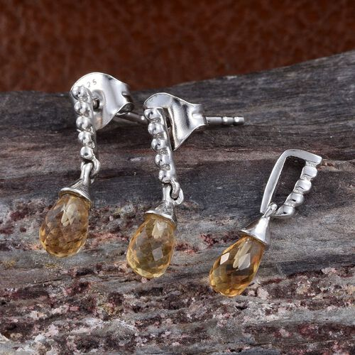 Citrine Drop Pendant and Earrings (with Push Back) in Platinum Overlay Sterling Silver 2.000 Ct.