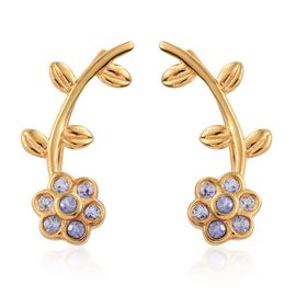 Tanzanite 0.28 Ct Silver Floral and Leaf Climber Earrings in Gold Overlay