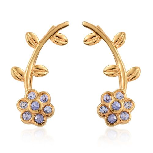 Tanzanite (Rnd) Floral and Leaf Climber Earrings in Gold Overlay Sterling Silver