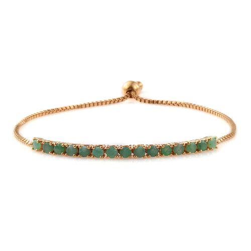 Brazilian Emerald (Rnd) Adjustable Bracelet (Size 6.5 to 9) in 14K Gold Overlay Sterling Silver 2.000 Ct.
