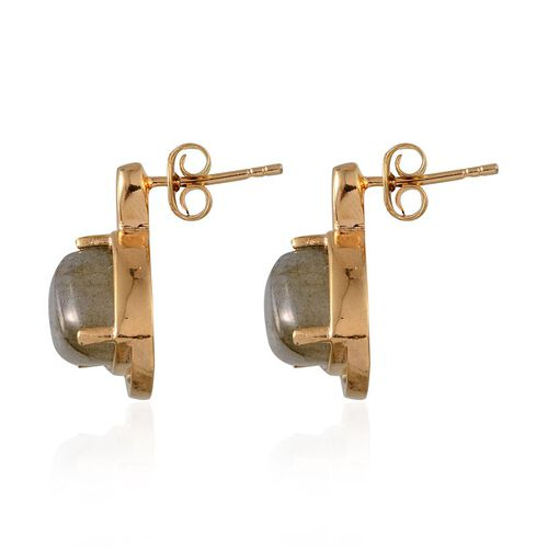 Labradorite (Trl) Earrings (with Push Back) in 14K Gold Overlay Sterling Silver 8.000 Ct.