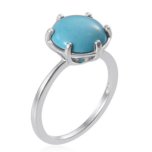 Arizona Sleeping Beauty Turquoise (Rnd) Solitaire Ring in Platinum Overlay Sterling Silver 2.750 Ct.