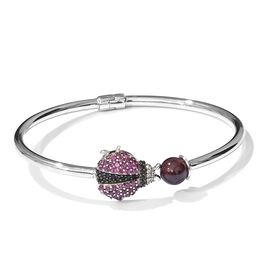 GP Mozambique Garnet, Rhodolite Garnet, Kanchanaburi Blue Sapphire and Multi Gemstone Ladybird Bangle (Size 6.5) in Platinum Overlay Sterling Silver 5.250 Ct. Silver wt 9.35 Gms.