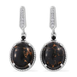 Mojave Black Turquoise (Ovl), Natural Cambodian Zircon and Boi Ploi Black Spinel Earrings (with Push Back) in Platinum Overlay Sterling Silver 9.500 Ct.