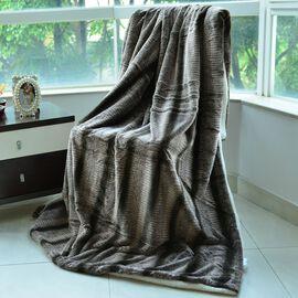 Superfine Luxury Brown Chinchilla Faux Fur Reversible Double Layer Sherpa Blanket (150x200 cm)