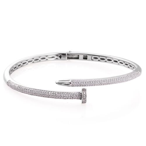 J Francis - Platinum Overlay Sterling Silver (Rnd) Nail Bangle (Size 7.5) Made with SWAROVSKI ZIRCONIA Number of Swarovski 253 PCS. Silver wt. 18.61 Gms. (Equivalent Ct. wt 2.024)