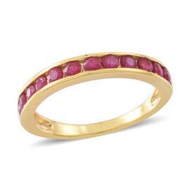Burmese Ruby (Rnd) Half Eternity Ring in 14K Gold Overlay Sterling Silver 1.250 Ct.