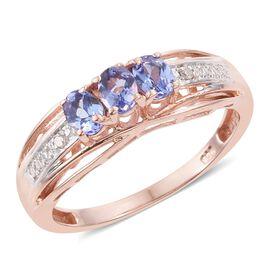Tanzanite, Diamond 0.50 Carat Ring in Rose Gold Overlay Sterling Silver