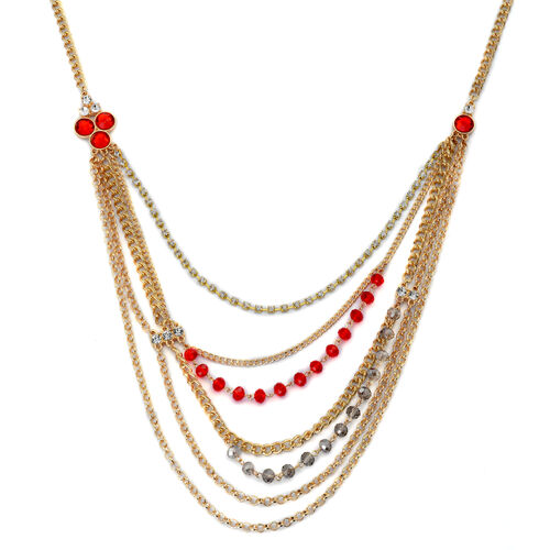 Simulated Ruby, Simulated Grey Moonstone, White Austrian Crystal and Simulated Stone Multi Strand Necklace (Size 26 with 3 inch Extender) in Gold Tone