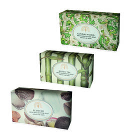 THE ENGLISH SOAP COMPANY- Vintage Italian wrapped 3 x 200g Soap Collect Exotic-  Sandalwood, Green Tea and Seaweed- Estimated delivery within 5-7 working days