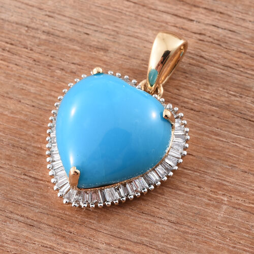 ILIANA 18K Yellow Gold 3.33 Ct AAAA Arizona Sleeping Beauty Turquoise Halo Heart Pendant with Diamond SI G-H