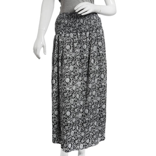 Shirred Midi Bell Dress - Black and Grey Colour Floral Printed (Free Size)