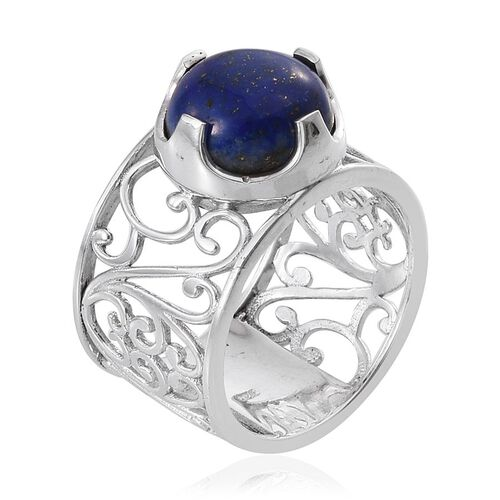Lapis Lazuli (Rnd) Ring in Platinum Overlay Sterling Silver 7.750 Ct.
