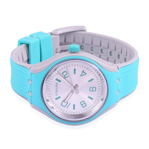STRADA Japanese Movement Silver Sunshine Dial Turquoise and Grey Colour Watch with Silicone Strap