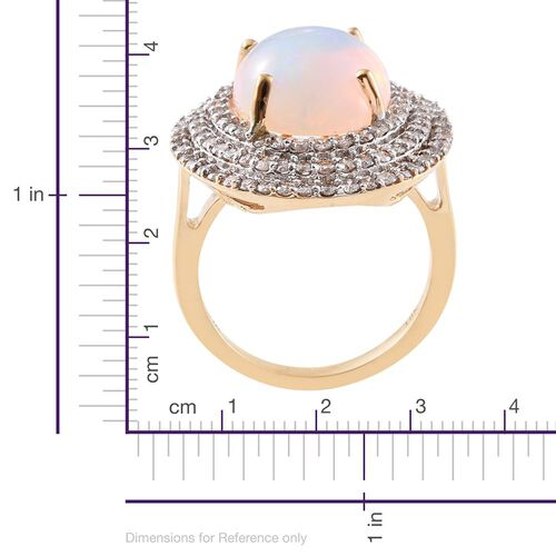 Signature Collection-ILIANA 18K Y Gold AAAA Ethiopian Welo Opal (Ovl 6.50 Ct), Diamond (SI/G-H) Ring 8.000 Ct. Gold Wt 9.00 Gms