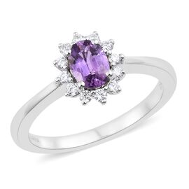 ILIANA 18K White Gold Natural AAA Unheated Purple Sapphire (Ovl), Diamond (SI/G-H) Ring 1.150 Ct.