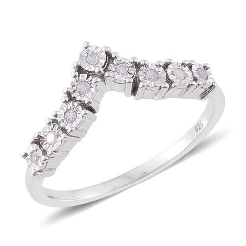 Diamond (Rnd) Wishbone Ring in Platinum Overlay Sterling Silver 0.100 Ct.