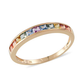 Limited Edition- Princess Cut 9K Y Gold AAA Rainbow Sapphire Half Eternity Ring 1.250 Ct.