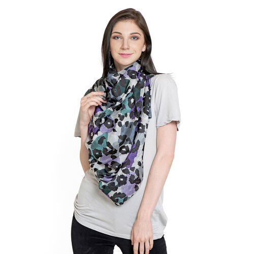 100% Mulberry Silk Black, Purple and Multi Colour Printed Scarf (Size 180x100 Cm)