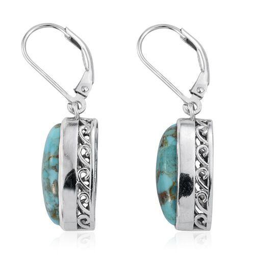 Arizona Matrix Turquoise (Ovl) Lever Back Earrings in Platinum Overlay Sterling Silver 7.500 Ct.