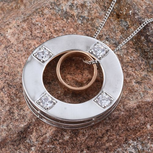 J Francis - Platinum and Rose Gold Overlay Sterling Silver (Rnd) Circle Pendant With Chain Made with SWAROVSKI ZIRCONIA