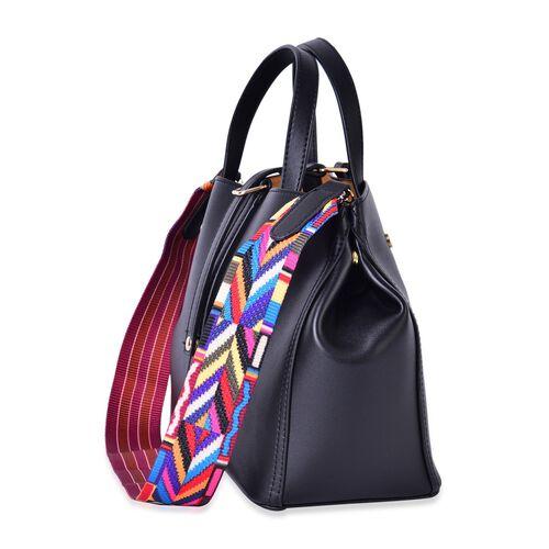 Black Colour Tote Bag with Multi Colour Shoulder Strap (Size 33x23.5x15 Cm)