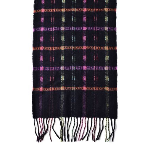 100% Wool Black, Pink and Multi Colour Checks Pattern Scarf with Tassels (Size 170X26 Cm)